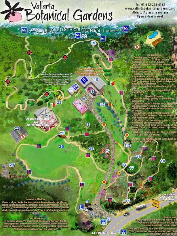 Vallarta Botanical Gardens Map