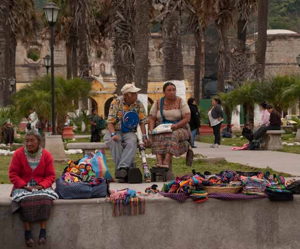 Locals selling their crafts in one of the many parks