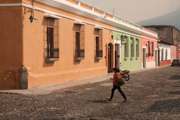 Pastel buildings in Antigua Guatemala