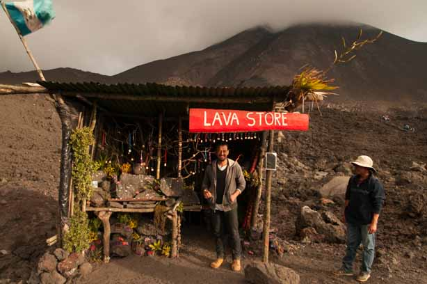 This zen lava store sells jewelry and blessings and the foot of Volcan Pacaya
