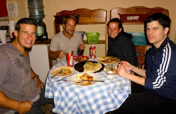 Dinner with new friends at Villa Esthella Hostal