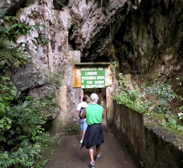 Entering the Lanquin Bat Caves at dusk