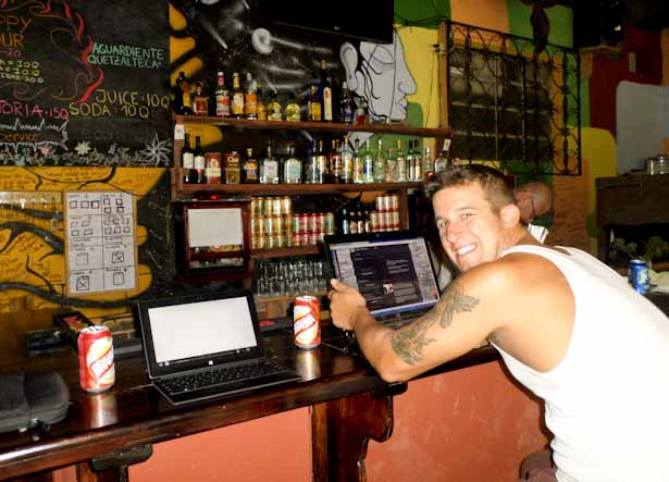 Hard at work at the bar in El Muro because the WiFi was better than in the room,,,well that's our story anyway.
