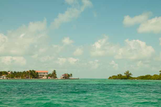 Looking back at Caye Caulker from the sailboat