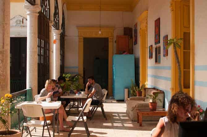 Lovely and bright seating areas at Hostel Zocalo Merida Mexico