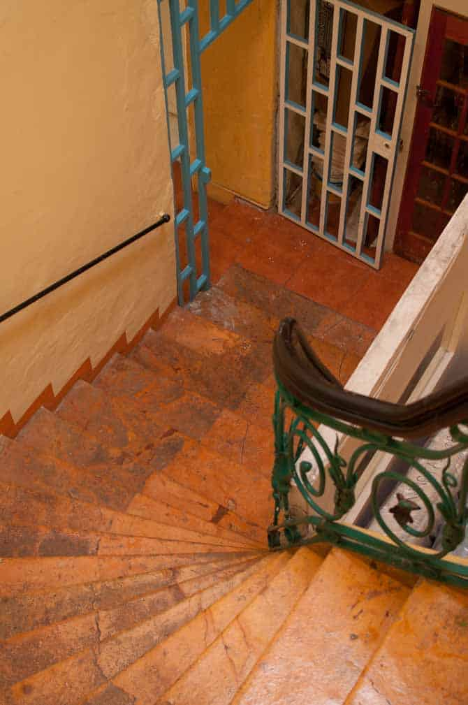 The winding marble stairs leading to Hostel Zocalo