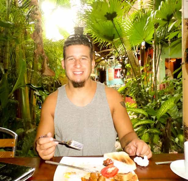 Enjoying breakfast at Los Amigos Hostal in Flores, Guatemala Mayan Ruins