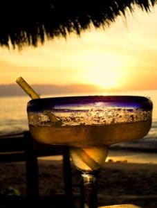 Margarita glass with the sunset behind