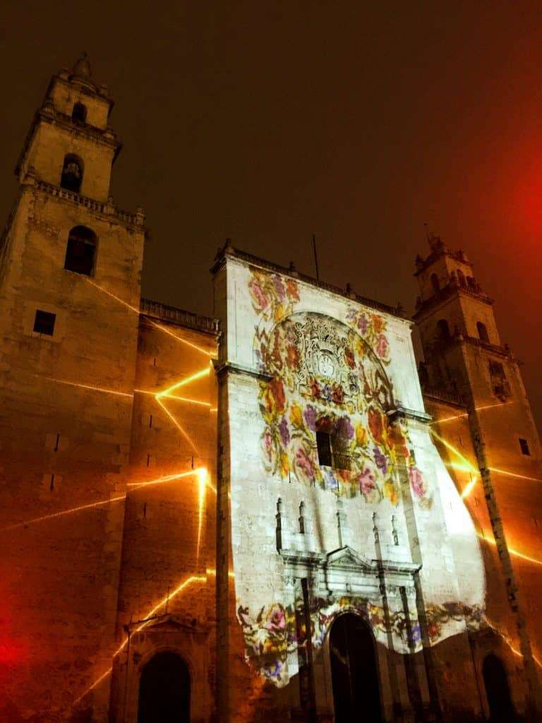 Things to do in Merida: cathedral lightshow
