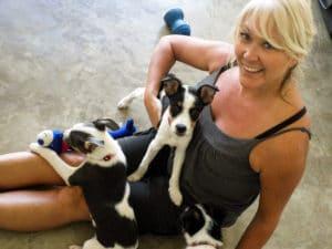 Sarah with dogs at Puerto Vallarta SPCA