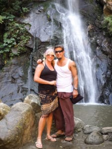 Nathan and Sarah in front of a waterfall in Puerto Vallarta