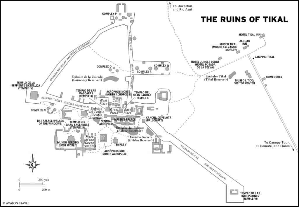 Map of the Guatemala Mayan Ruins of Tikal
