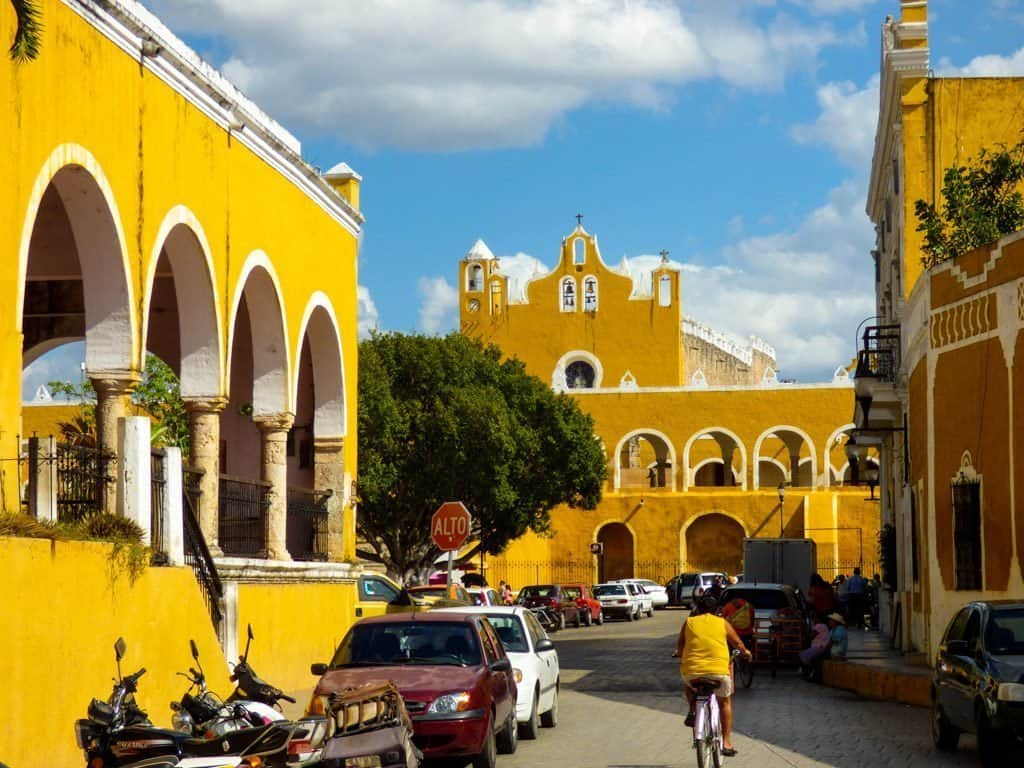 Yellow buildings in Izmal, Yucatan Mexico