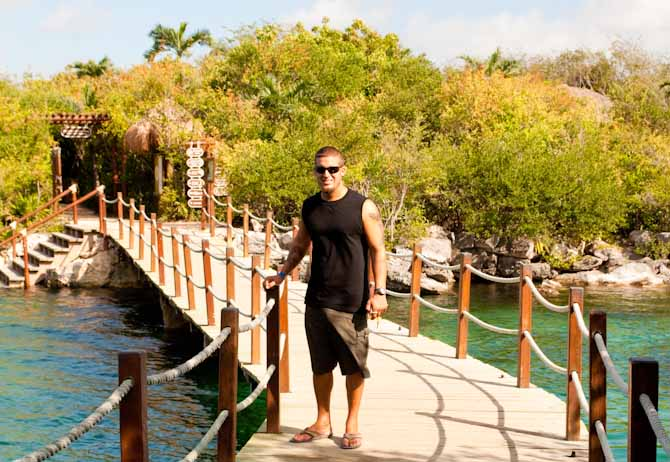 Nathan on the floating bridge at Xel Ha water park Yucatan