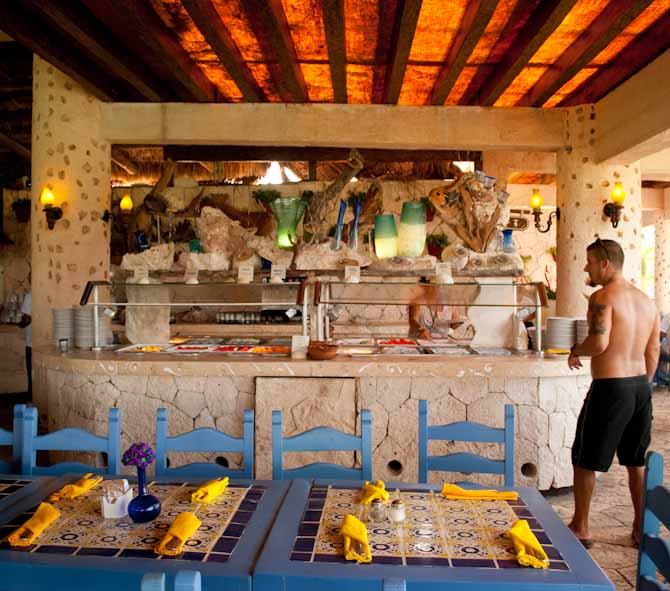 Nathan checking out the breakfast buffet at Xel Ha Water Park