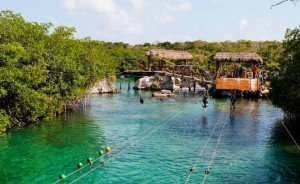 Zipline over water at Xel Ha water park