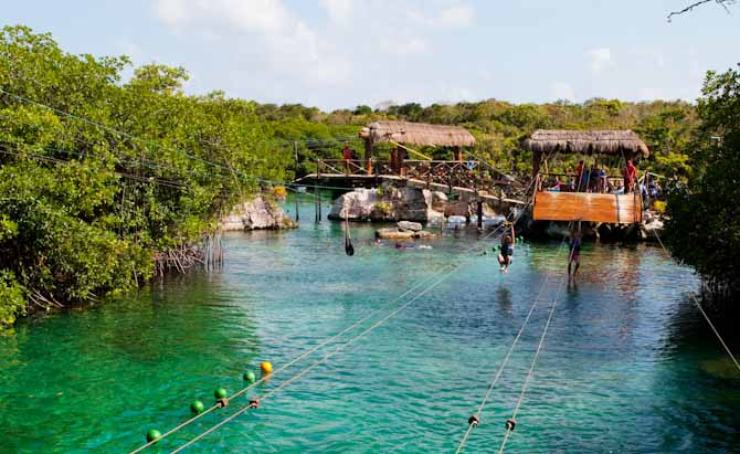 Zip lines at Xel Ha water park