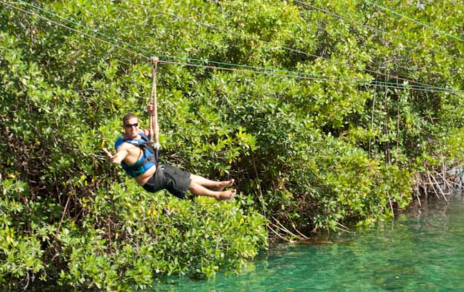 Nathan on the Xel Ha zipline