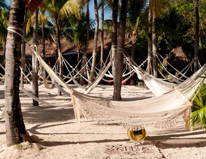 Hammocks for relaxing at Xel-Ha Water Park