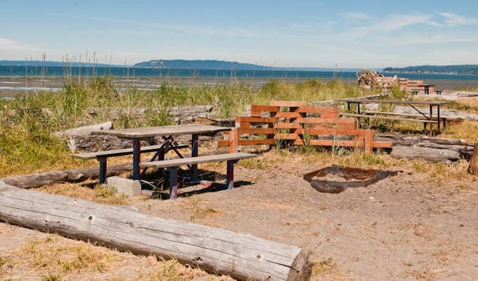 picnic tables and firepits in Jetty Island