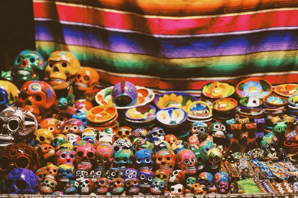 Display of colorful Mexican crafts