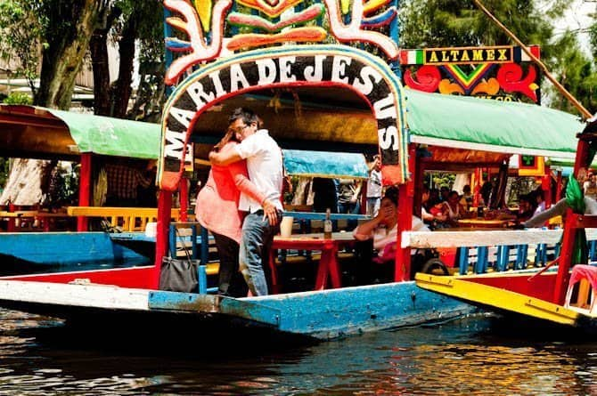 Dancers on a lancha in Xochimilco