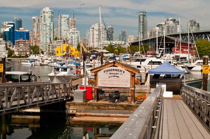 View of downtown Vancouver from the seawall near Granville Island