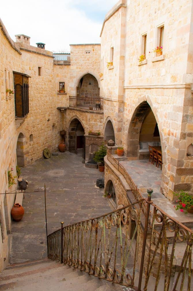 Courtyard of the castle like Kale Konak Cave Hotel Turkey in off season