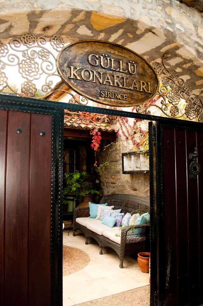 Entrance to Gullu Konaklari Boutique hotel in Sirince, Turkey