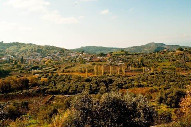 View of the hills surrounding Sirince, Turkey