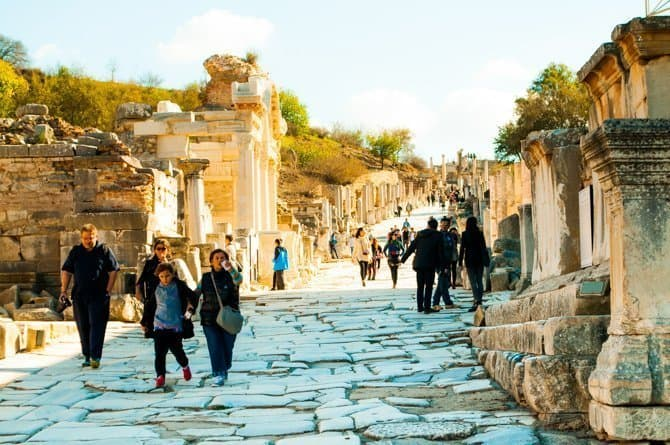 Streets of ancient Ephesus Turkey in off season