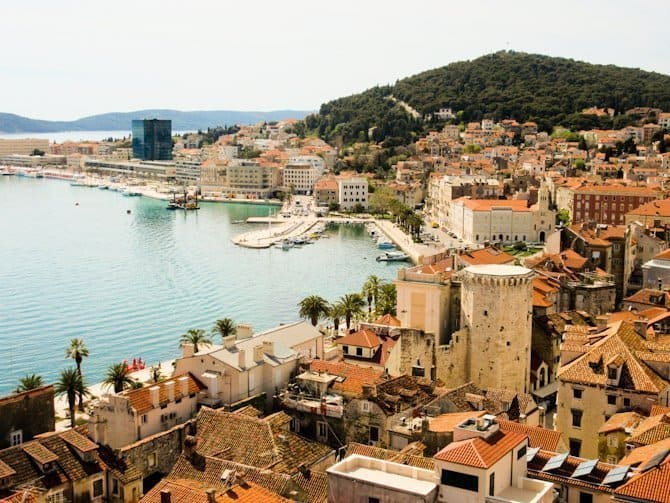 This view of the harbor in Split, Croatia shows that Dubrovnik is not the only choice for a beautiful and historic old city center.