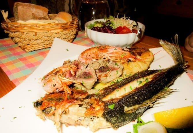 Fresh seafood platter at a little restaurant in Split, Croatia