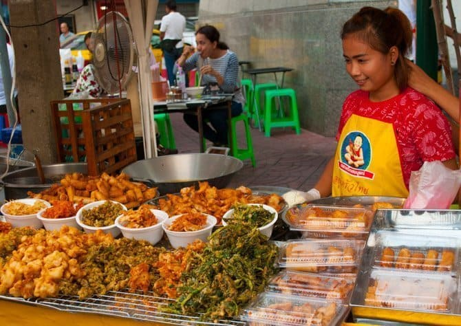 Delicious food at the Chinese Vegetarian Festival in Bangkok