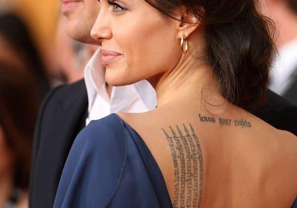 Angelina Jolie's Sak Yant bamboo tattoo