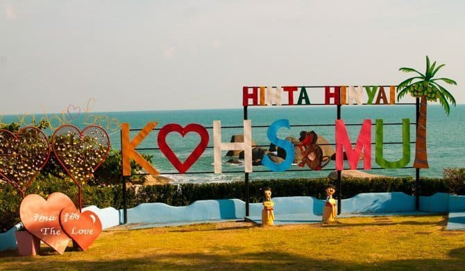 Best Koh Samui beach and things to do in Koh Samui sign