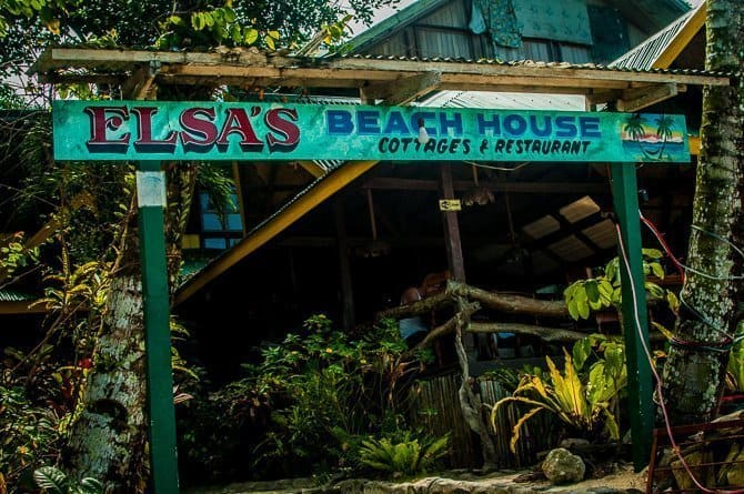 Sign for Elsa's Beach House Port Barton Palawan Island Philippines