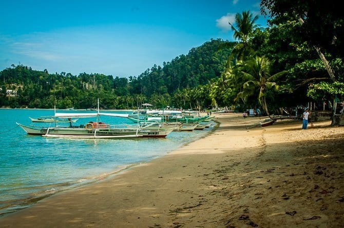 A view of the quiet beach at Port Barton Palawan Island Philippines
