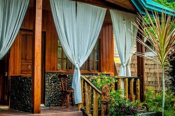 A deck of one of the cottages at Jurias Pension El Nido Palawan Island Philippines