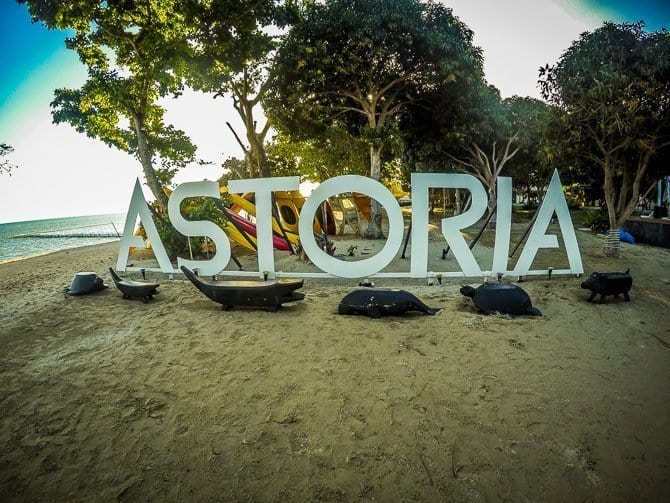 Astoria sign on the beach