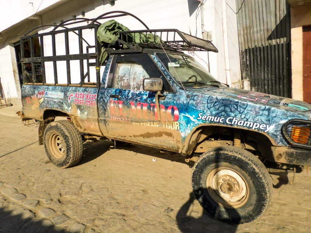Truck that took 16 of us to Semuc Champey caves and pools