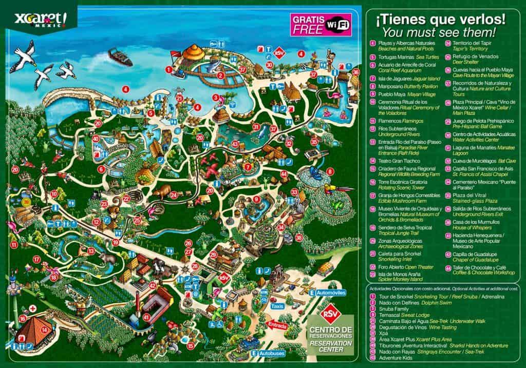 xcaret theme park map