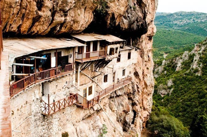 Best hikes in Europe Peloponnese hanging monastery