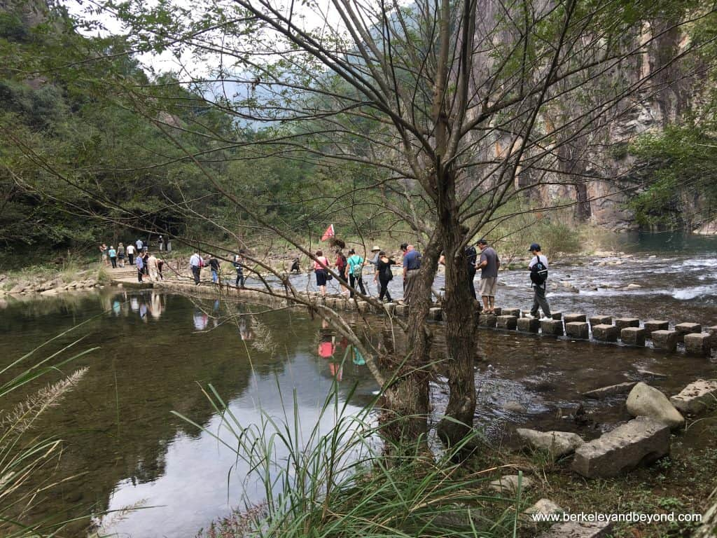 Best hikes in Asia WENZHOU-side trip-Shizhiyan Cliff Scenic Spot-river crossing 4-c2016 Carole Terwilliger Meyers-watermark