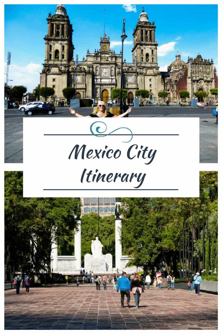 Images of Mexico City with text overlay of Mexico City Itinerary