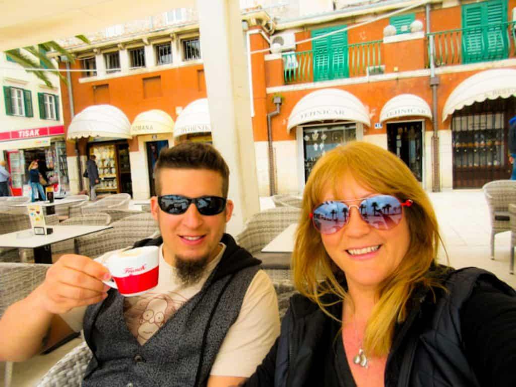 Nathan and Sarah at an outdoor cafe in Split, Croatia