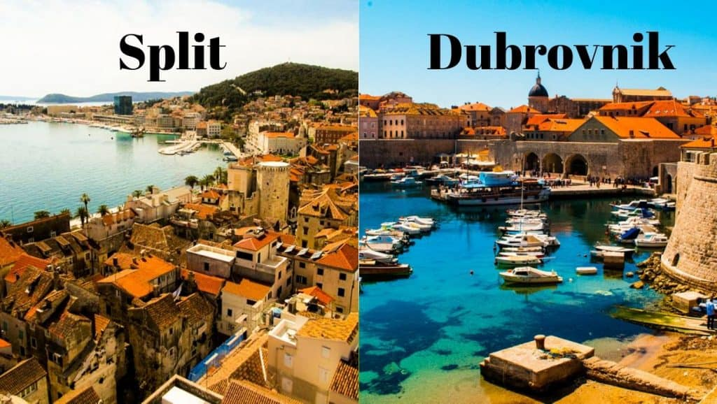 Side by side images of Split harbour and Dubrovnik harbour in Croatia
