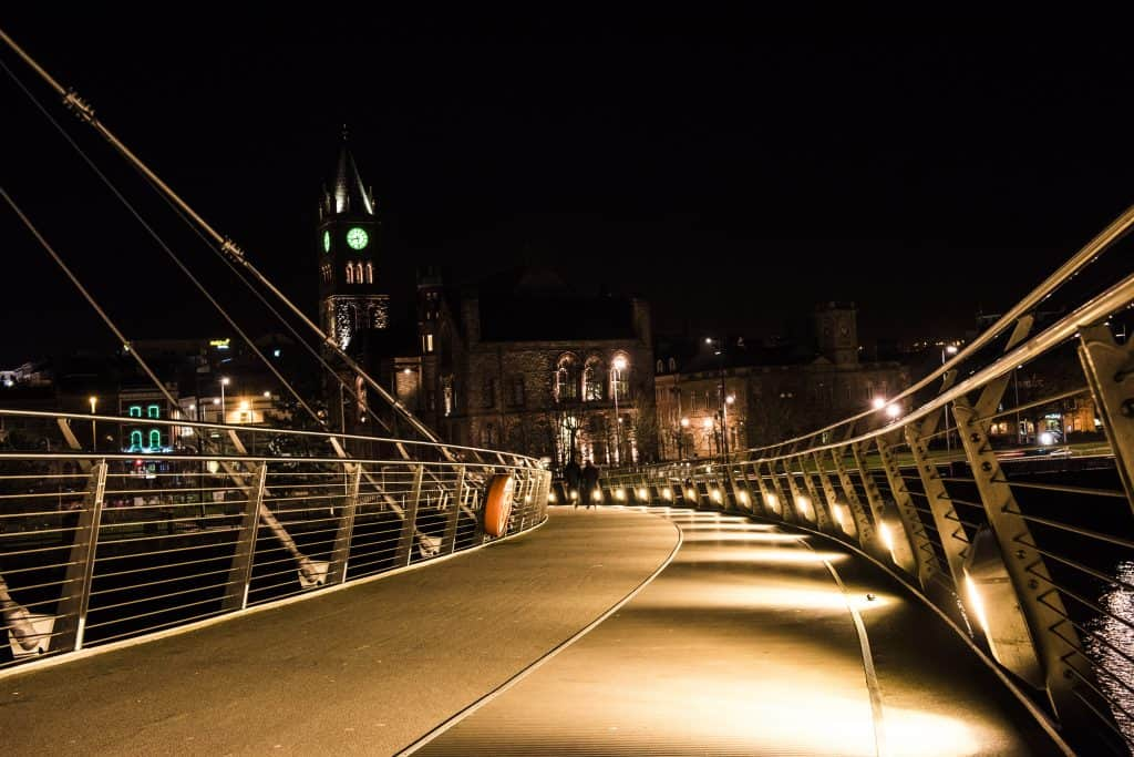 Derry Peace Bridge and Guildhall at Night