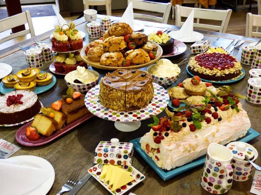 A beautiful display of many different delicious cakes, scones and pies at Avaco Cafe Dublin