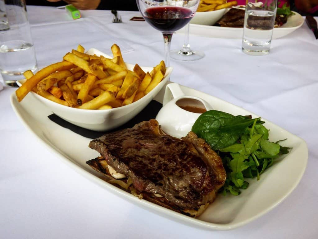 Plate of steak frites